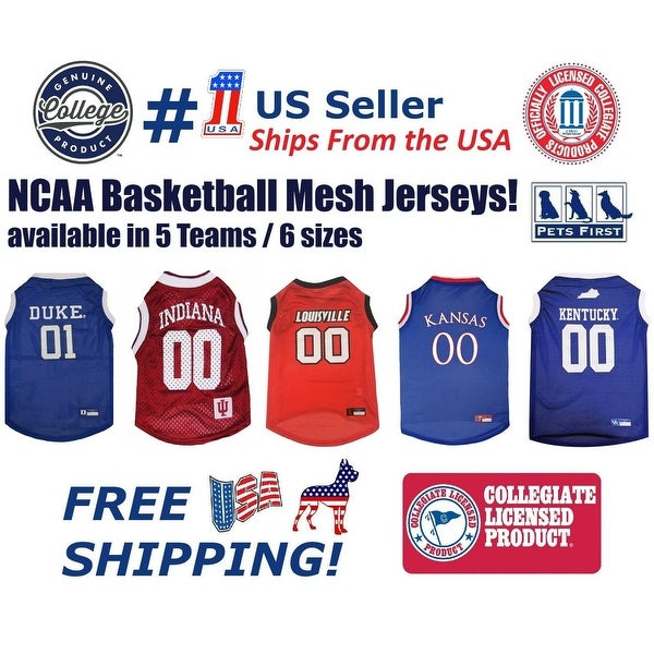 9e3bf4f1659c Shop Pets First NCAA Dog Basketball Mesh Jersey - Licensed - On Sale ...