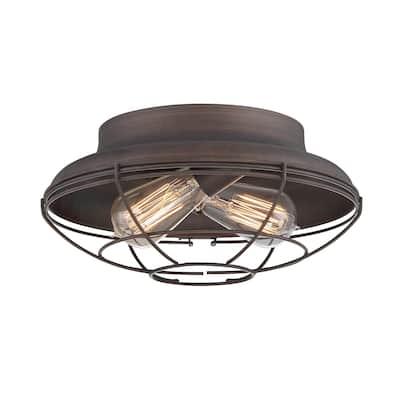Neo-Industrial Metal 2 Light Flushmount Ceiling Light