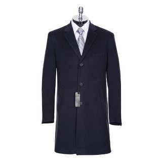 Bloomingdales Wool and Cashmere Overcoat Navy Blue Solid 42 Regular 42R