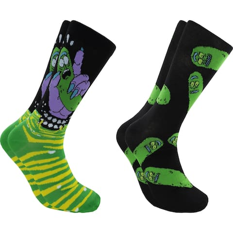 Hyp Rick & Morty Pickles Men's Crew Socks 2 Pair Pack Shoe Size 6-12