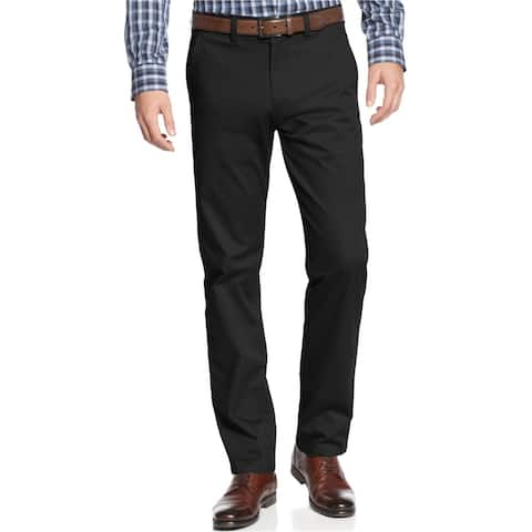 Kenneth Cole Mens Slim-Fit Casual Chino Pants, black, 30W x 30L