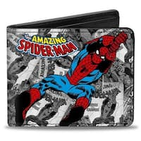 Marvel Comics The Amazing Spider Man Stacked Comic Books Action Poses Grays Bi-Fold Wallet - One Size Fits most