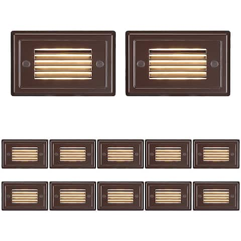 Low Voltage Horizontal Louvered Step Light, Oil Rubbed Bronze - 12PACK