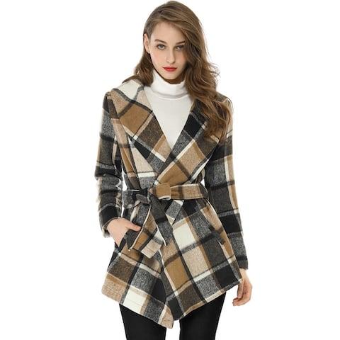 Women's Turn Down Collar Asymmetric Hem Thin Belted Plaids Wrap Coat - Brown