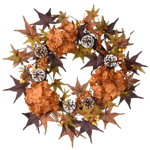 "24"" Harvest Hydrangea and Maple Leaves Wreath"