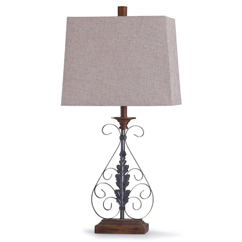 Copper Grove Chibombo Oil-rubbed Bronze and Wood Scroll Table Lamp with Tapered Beige Rectangular Shade