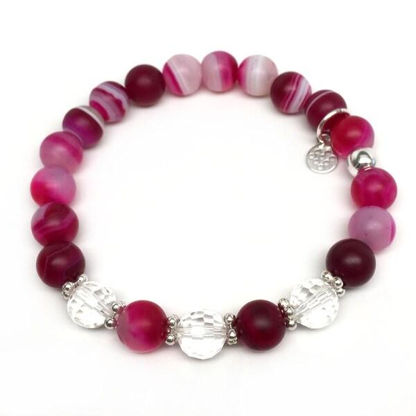"""Fuchsia Agate Naomi 7"""" Bracelet"""