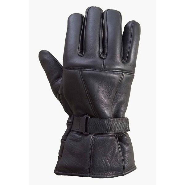 Premium Cowhide Leather Motorcycle Biker Riding/Cruising Winter Gloves Black G2