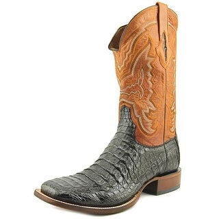 Lucchese Mad Dog Men Square Toe Leather Black Western Boot