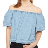 Adriano Goldschmied NEW Blue Womens Size Small S Off Shoulder Knit Top