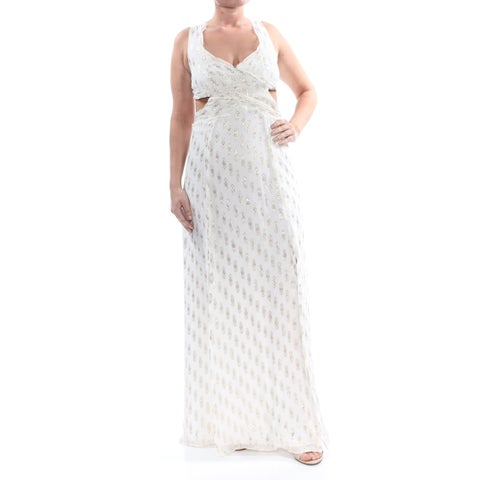 FREE PEOPLE Womens Ivory Glitter Cut Out Geometric Fray Queen Anne Neckline Full-Length Body Con Prom Dress Size: 12
