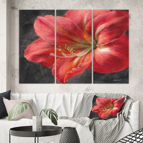 Designart 'Vivid Red Lily III' Shabby Chic Canvas Art