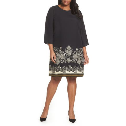 Vince Camuto Womens Paisley Shift Dress, black, 20W