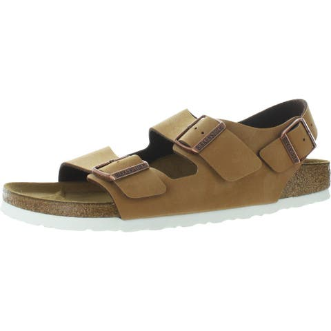 Birkenstock Mens Milano Footbed Sandals Nubuck Strappy - Brushed Brown - 42