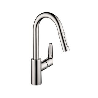 Hansgrohe 4506 Focus Pull-Down Prep Faucet with High-Arc Spout, Magnetic Docking & Toggle Spray Diverter - Includes Lifetime