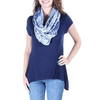 BCX Womens Navy INFINITY SCARF INCLUDED Short Sleeve Jewel Neck Trapeze Top Size: S
