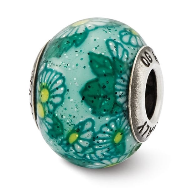 Italian Sterling Silver Reflections Teal Floral Decorative Overlay Glass Be (4mm Diameter Hole)