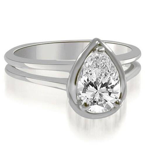 0.50 cttw. 14K White Gold Split Shank Pear Cut Halo Diamond Engagement Ring