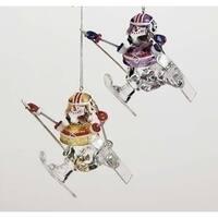 Set of 4 Assorted Football Player Snowmen Skiing Christmas Ornaments #27234B