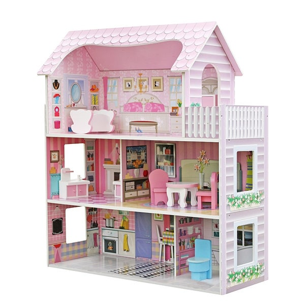 Large Children's Wooden Dollhouse Kid House Play Pink with Furniture. Opens flyout.