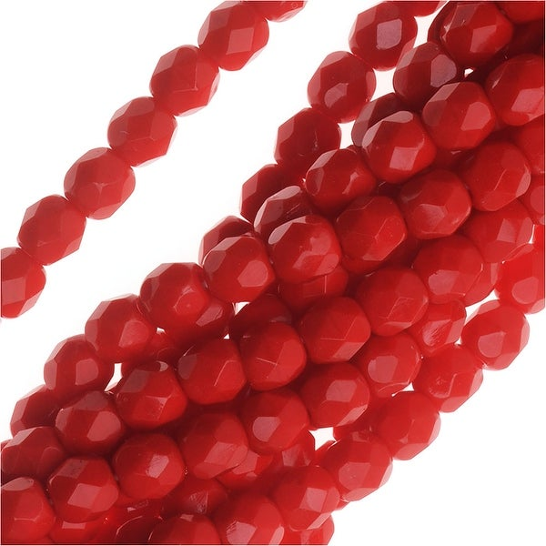 Czech Fire Polished Glass Beads 4mm Round Red Coral (50)