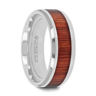 Thorsten Koan Titanium Rings For Men Titanium Polished Finish Koa Wood Inlaid Mens Wedding Ring With Beveled Edges 8 Mm