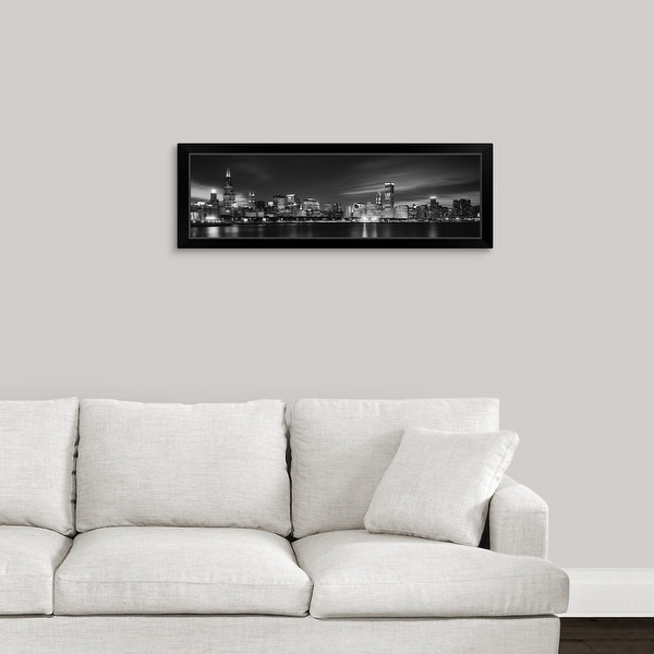 """""""Buildings at the waterfront lit up at night, Sears Tower, Lake Michigan, Chicago"""" Black Framed Print"""