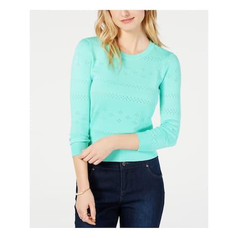 MAISON JULES Womens Aqua Long Sleeve Jewel Neck Sweater Size XS