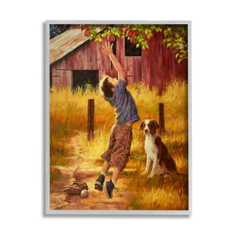 Stupell Industries Boy Jumping for Autumn Farm Apple with Dog Framed Wall Art