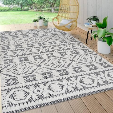 JONATHAN Y Citta High-Low Pile Mediterranean Tile Indoor/Outdoor Area Rug