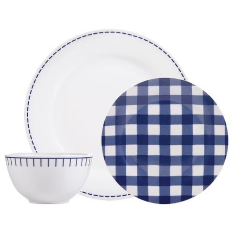 "Dinnerset 12PC Rim Rustic Cottage Navy/White - 10'5"" x 0'5"""