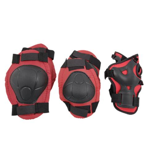 Red Black Skate Sports Knee Elbow Wrist Pad Support