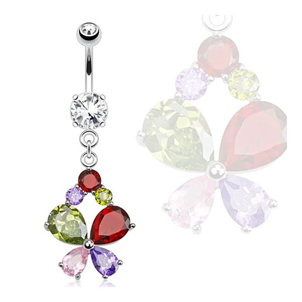 Butterfly Multi Colored CZs Dangle Navel Belly Button Ring 316L Surgical Steel (Sold Ind.)