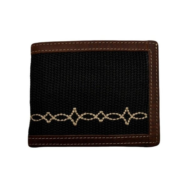 "Georgia Wallet Mens Casual Canvas Fancy Work Bifold Black Brown - 4 1/2"" x 3 1/2"""