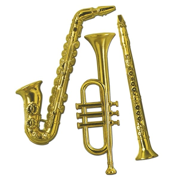 """Club Pack of 36 Gold Plastic Musical Instrument Trumpet, Saxophone and Clarinet Decorations 21"""""""