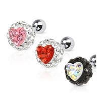 Heart Ferido Crystal Ball 316L Surgical Steel Tragus/Cartilage Barbell (Sold Ind.)