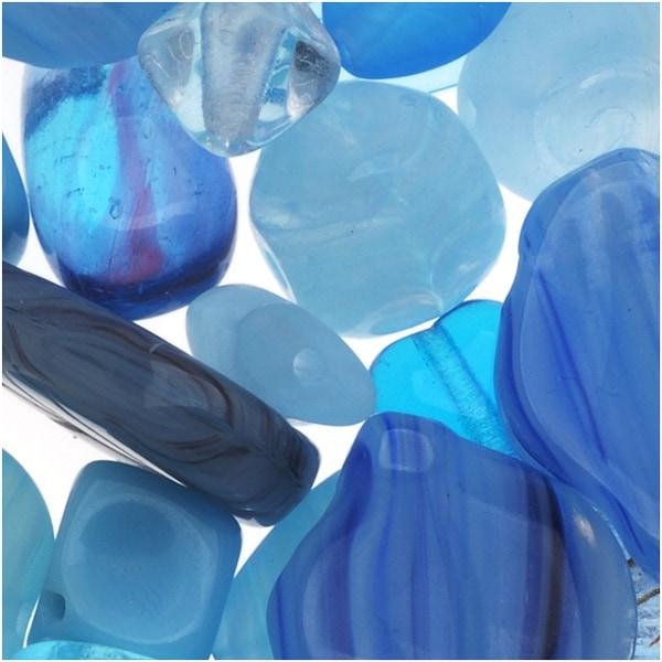 Czech Glass Bead Mix Lot Assorted Shapes Aqua Capri Blue (2 oz.)