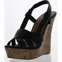 Styluxe Twin-68 Womens Cork High Platform Sling Back Sandal Wedge