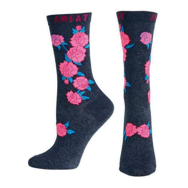Ariat Socks Womens Western Roses Ankle Black One Size Pink