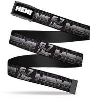 Hemi Bold Fcg Black White  Chrome Hemi 5.7 Liter Black White Silver Web Belt