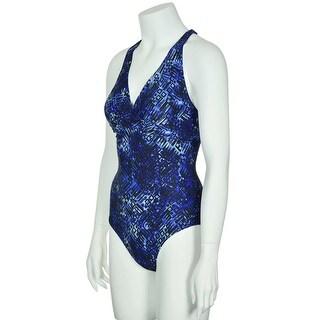 Speedo Womens Wrap X-Back One Piece Swimsuit Blue, Swimwear Swim Suit