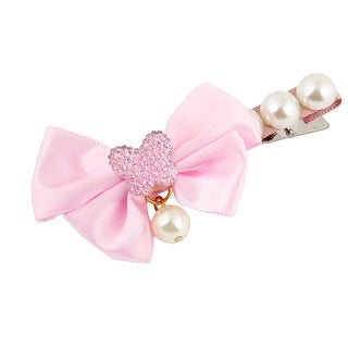 Unique Bargains Pink Bowknot Accent Faux Pearl Single Prong Alligator Hairclip