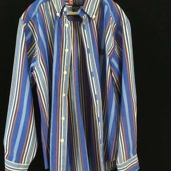 812537b3 Shop Chaps long sleeve button down shirt Size M Boys blue striped ...