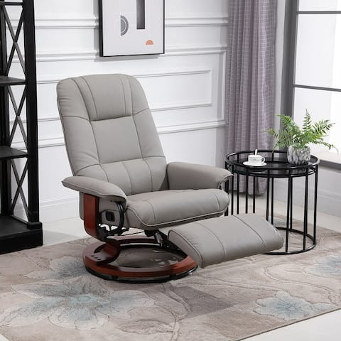 HomCom Faux Leather Adjustable Manual Swivel Base Recliner Chair with Comfortable and Relaxing Footrest