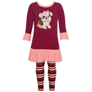 Bonnie Jean Little Girls Burgundy Puppy Detail Stripe 2 Pc Legging Outfit