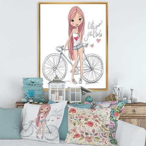 Designart 'Young Girl With Bicycle' Children's Art Framed Canvas Wall Art Print
