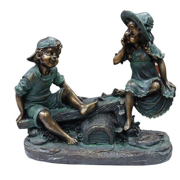 Alpine Girl and Boy Playing on Teeter Totter Garden Statue
