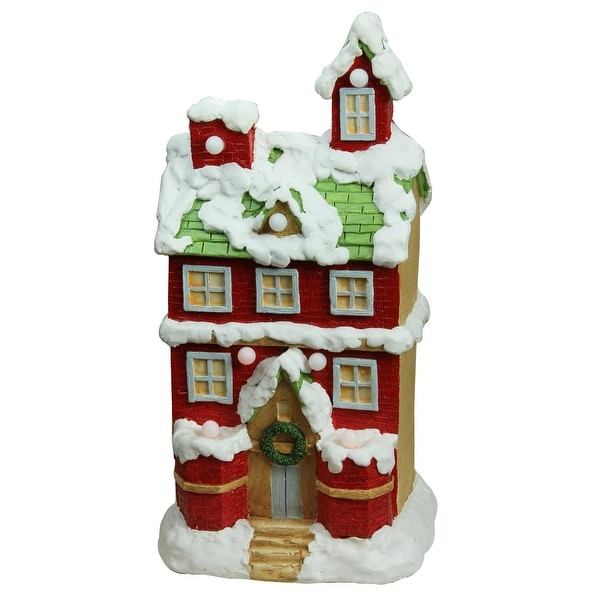 "21.25"" Christmas Morning Pre-Lit LED Snow Covered 2 Story House Musical Christmas Tabletop Figure - RED"