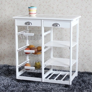Rolling Wood Kitchen Island Storage Trolley Utility Cart Rack Color Opt