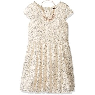 My Michelle NEW Beige Girls Size 14 Sequin-Lace Fit-N-Flare Dress